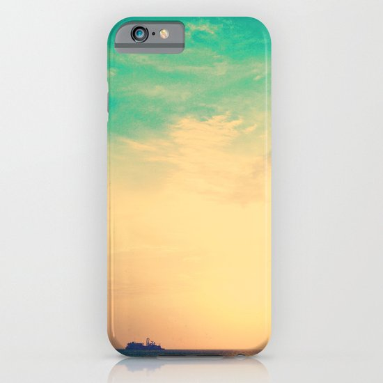 Ship in the beach on the sunset, and vintage turquoise sky iPhone & iPod Case