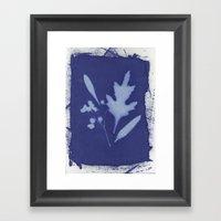 Cyanotype Flower Two Framed Art Print