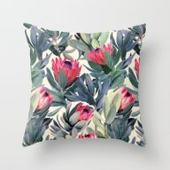 Throw Pillow featuring Painted Protea Pattern by Micklyn