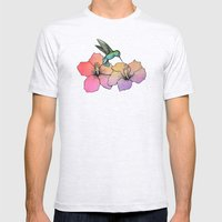 Hummingbird and Hibiscus Mens Fitted Tee Ash Grey SMALL