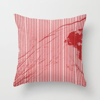 Red stripes on grunge pink background Throw Pillow