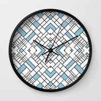 PS Grid 45 Sky Blue Wall Clock