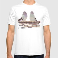 Pigeons In Love Mens Fitted Tee White SMALL