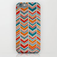 Teal, Red and Goldenrod chevron iPhone 6 Slim Case
