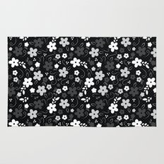 Black & White Floral Rug