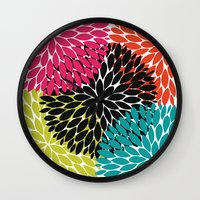 Big Tropical Flowers Wall Clock