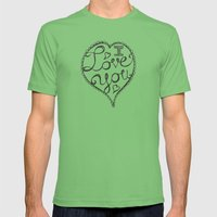 I Love You Sketch Mens Fitted Tee Grass SMALL