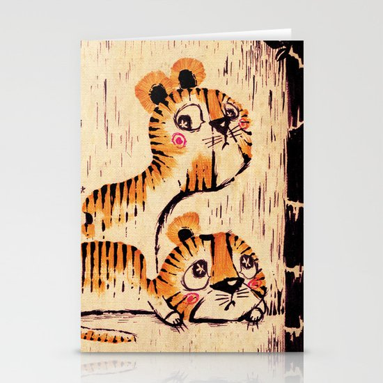 Two Little Tigers  Stationery Card