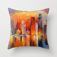 Evening new York Throw Pillow