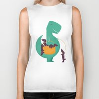 T-Rex And His Basketful … Biker Tank