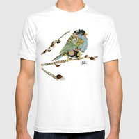 Cafe Swirly Bird 4 Mens Fitted Tee White SMALL