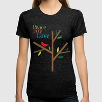 Peace Joy Love Womens Fitted Tee Tri-Black SMALL