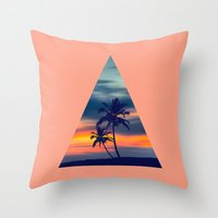Palms and sunset triangle Throw Pillow