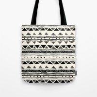 Tribal Vintage Stripe Bl… Tote Bag