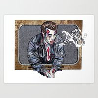 Zombie James Dean Art Print