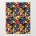 Monster Faces Pattern Canvas Print