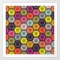 crochet honeycomb Art Print