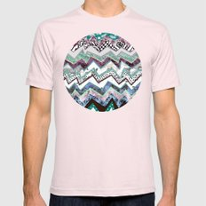 Winter Zigzags Abstract Mens Fitted Tee Light Pink SMALL