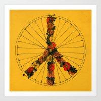 Peace & Bike (Colors) Art Print