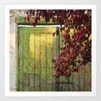 La portada verde y el otoño Art Print