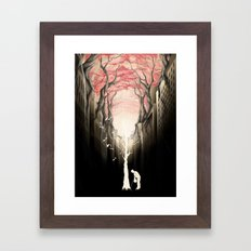 Revenge of the nature II: growing red forest above the city. Framed Art Print