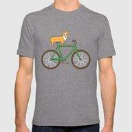 Corgi On A Bike Mens Fitted Tee Tri-Grey SMALL