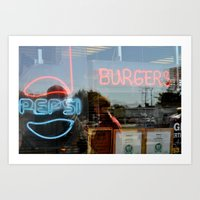 Burgers & Pepsi Art Print