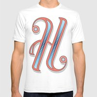 Letter H Mens Fitted Tee White SMALL