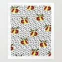Blood Orange and Dots Art Print