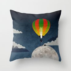 Picnic in a Balloon on the Moon Throw Pillow