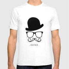 Mr. Moustache SMALL White Mens Fitted Tee