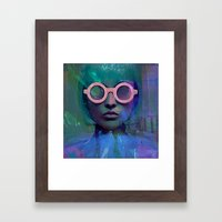 Pink Glasses girl Framed Art Print