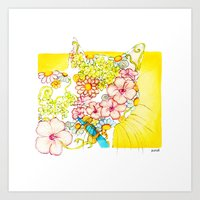 Yellow Hibiscus Cat in Silhouette Art Print