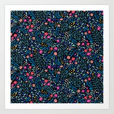 Teeny Tiny Floral Black Art Print
