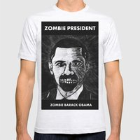 44. Zombie Barack Obama  Mens Fitted Tee Ash Grey SMALL