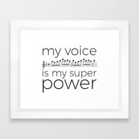 My voice is my super power (soprano, white version) Framed Art Print