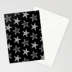 Starfish White on Black Stationery Cards