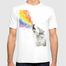 Wolf Rainbow Watercolor Howling SMALL Mens Fitted Tee White