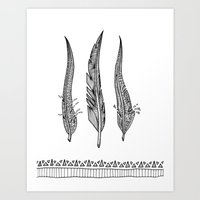 Feathers - Black And Whi… Art Print