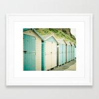 Duck Egg Blue and Cream Beach Huts Framed Art Print