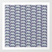 Speckled Rhinos Art Print