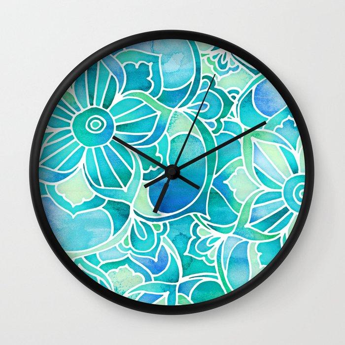 Wall Clock Floral Design : Aqua emerald blue turquoise mint green floral