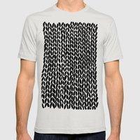 Hand Knitted Black S Mens Fitted Tee Silver SMALL