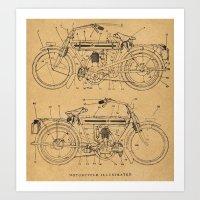 Motorcycle Diagram Art Print