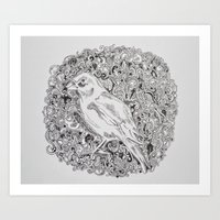 Rococo GreenFinch Sphere Art Print