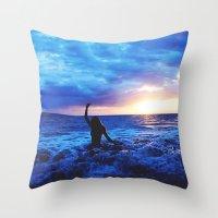 Sunset Swimmer Throw Pillow