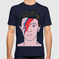 David Bowie Mens Fitted Tee Navy SMALL