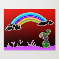 Rainbow bunny Canvas Print