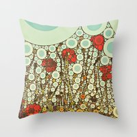 Pop Pop Poppies Abstract… Throw Pillow