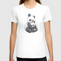 Panda Hug Womens Fitted Tee White SMALL